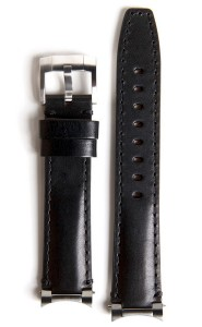 Steel End Leather Strap - Black
