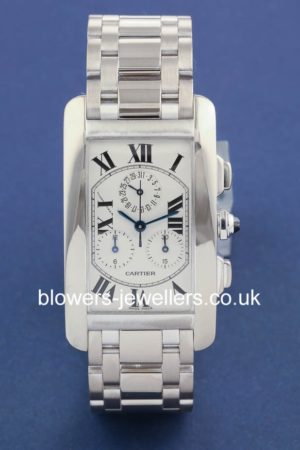 18ct White Gold Cartier Tank Americaine Chronograph W26033L1