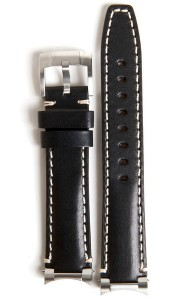 Steel End Leather Strap - Black & White