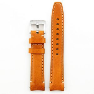 Curved End Leather Strap - Tan