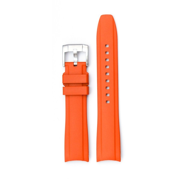 Curved End Rubber With Tang Buckle - Orange