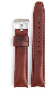 Curved End Leather Strap - Brown