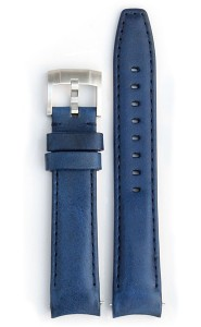 Curved End Leather Strap - Blue
