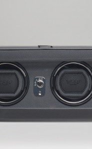 Wolf Windsor Double Watch Winder with cover in Black