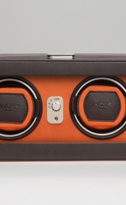 Wolf Windsor Double Watch Winder with cover in Brown & Orange