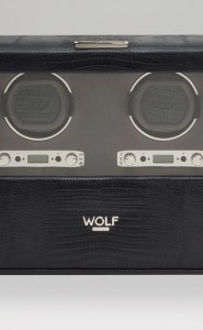 Wolf Blake Double Watch Winder in Black Teju Lizard