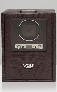 Wolf Blake Watch Winder in Brown Teju Lizard