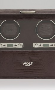 Wolf Blake Double Watch Winder in Brown Teju Lizard