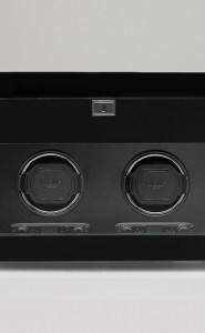 Wolf Savoy Double Watch Winder with Storage in Black.