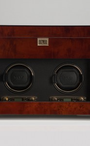 Wolf Savoy Double Watch Winder with Storage in Burlwood
