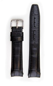Everest Black Alligator leather strap with stitching (EH12BLKA) with curved ends for Rolex Datejust