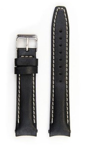 Everest Black leather strap (EH12) with curved ends for Rolex Datejust.
