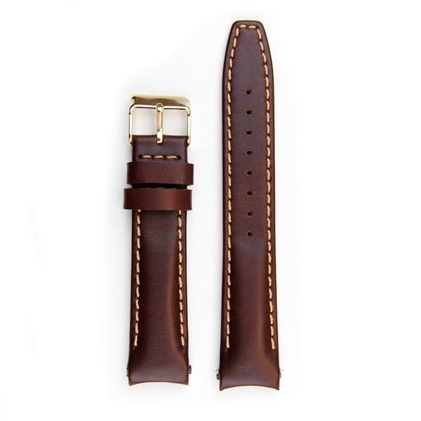 Everest Brown leather strap with stitching (EH12BRN) with curved ends for Rolex Datejust