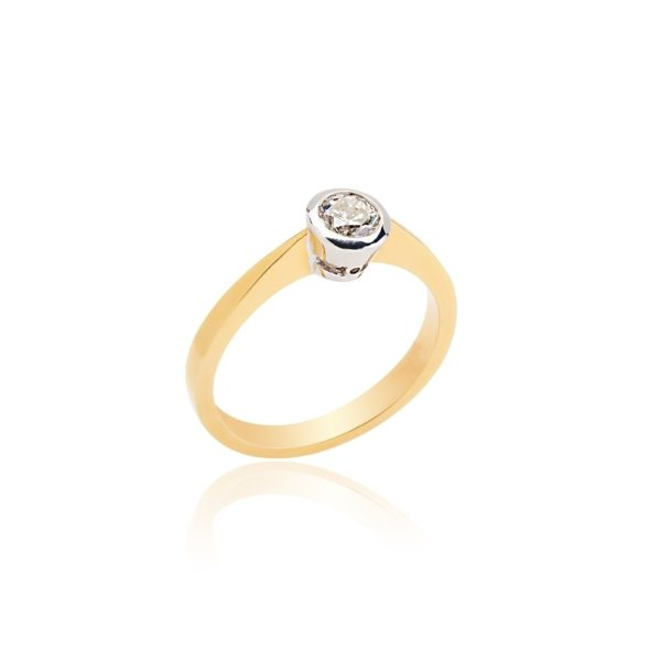 18ct yellow gold brilliant cut rubover ring