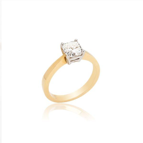 18ct yellow gold Asher cut diamond ring