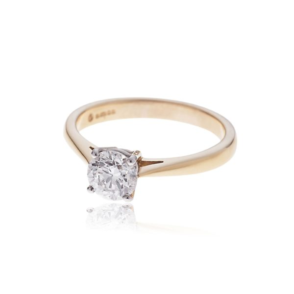18ct rose gold brilliant cut solitaire diamond ring