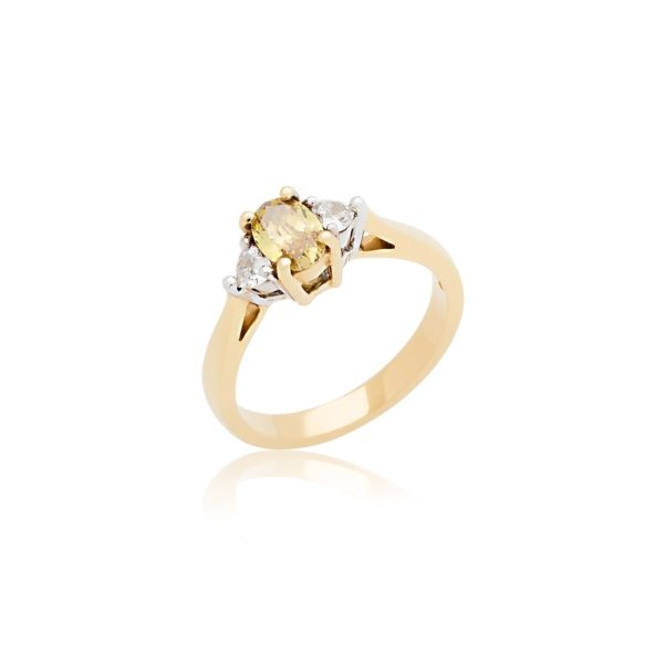 18ct oval cut yellow gold yellow diamond and heart diamond ring