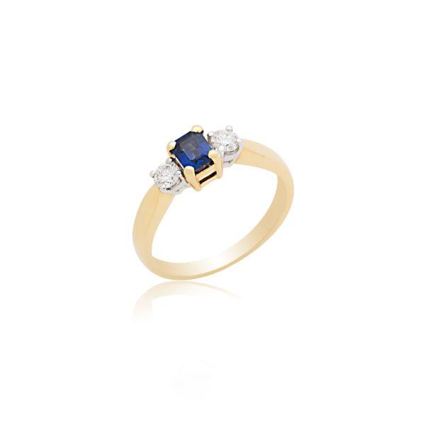 18ct yellow gold octagonal sapphire