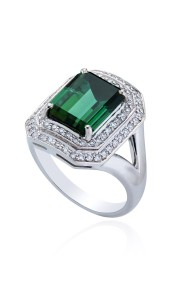 18ct White Gold Tourmaline and Diamond Ring.