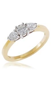 18ct Yellow gold brilliant & pear cut diamond 3 stone ring