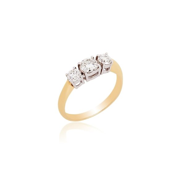 18ct Yellow gold brilliant cut diamond 3 stone ring