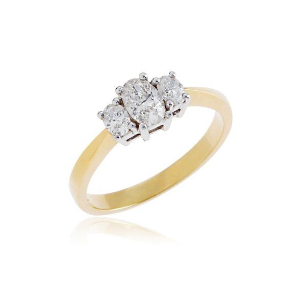 18ct Yellow gold oval brilliant cut diamond 3 stone ring.