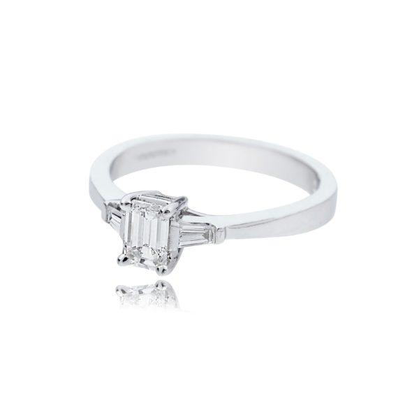 18ct White gold emerald cut diamond solitaire