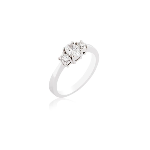 Platinum oval cut and brilliant cut diamond ring.