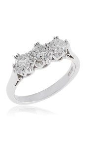 18ct White gold brilliant cut diamond 3 stone ring