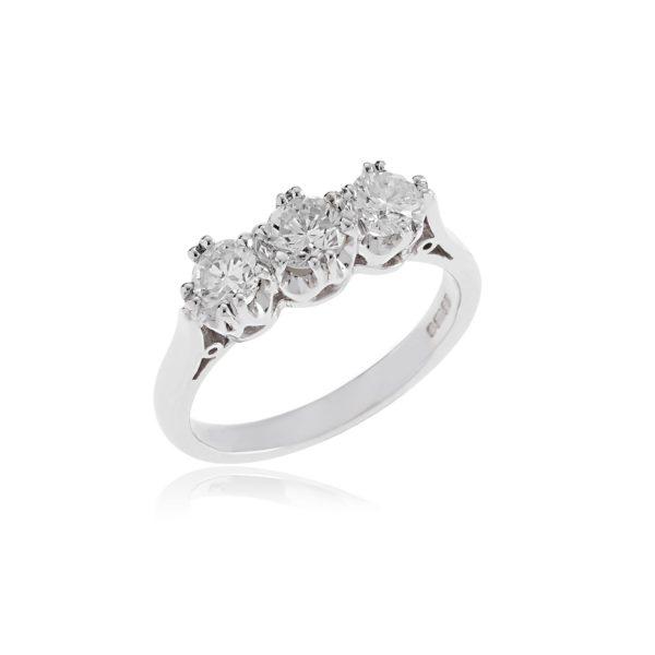 18ct White gold brilliant cut diamond 3 stone ring