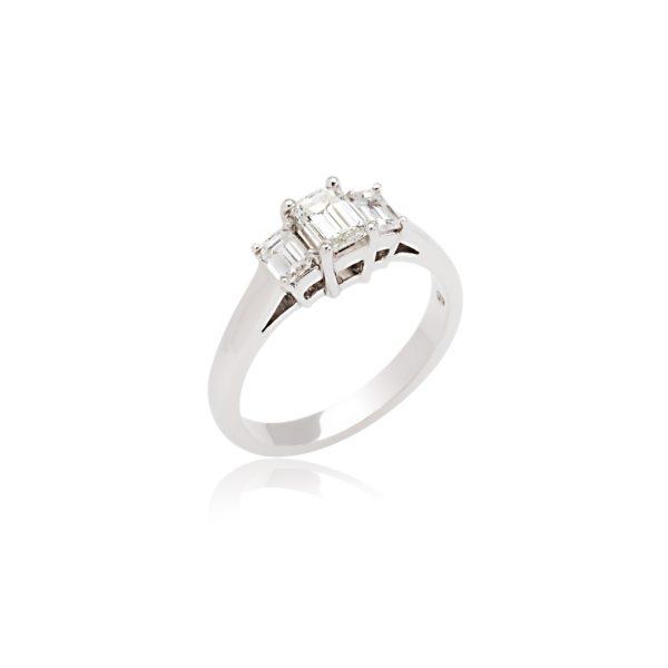 18ct White gold emerald cut diamond 3 stone ring