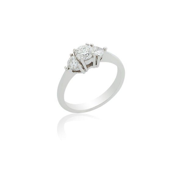 White Gold brilliant cut and heart cut 3 stone diamond ring