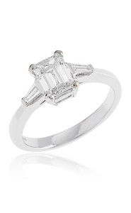 Platinum emerald cut diamond ring with tapered baguette