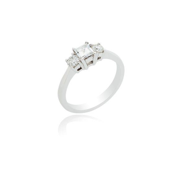 18ct White gold emerald cut and brilliant cut 3 stone diamond ring