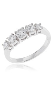 18ct White gold brilliant cut 5 stone diamond ring