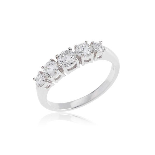 18ct White gold brilliant cut 5 stone diamond ring