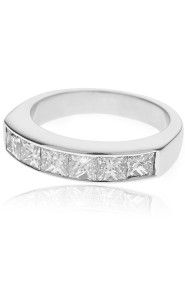 18ct White gold princess cut half eternity ring