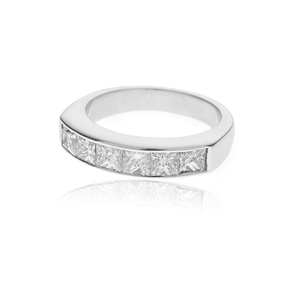18ct White gold princess cut half eternity ring