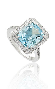 18ct White gold cushion cut aquamarine and diamond ring