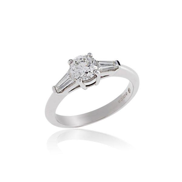 Platinum brilliant cut diamond ring
