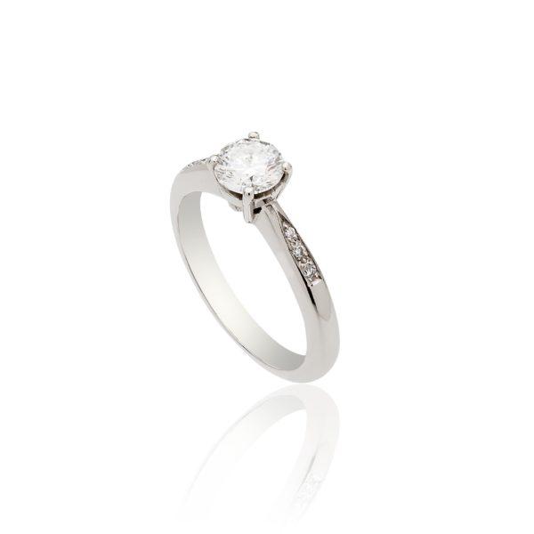 Platinum brilliant cut diamond solitaire ring