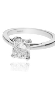 Platinum cushion brilliant cut diamond ring