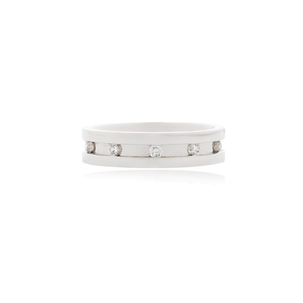 18ct White gold ladies wedding band channel set with brilliant cut diamonds