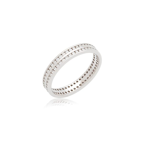 18ct White gold double channel set diamond wedding band.