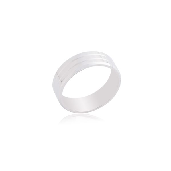 18ct White gold gents wedding band with grove detail.