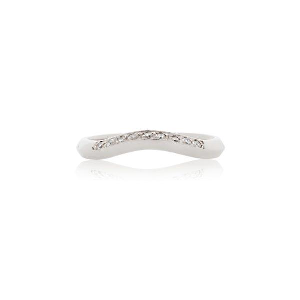 Platinum shaped diamond pave set wedding ban
