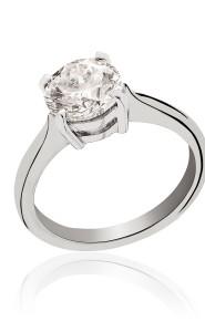 Platinum brilliant cut solitaire diamond ring.