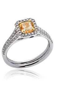 18ct White gold natural yellow diamond cocktail ring
