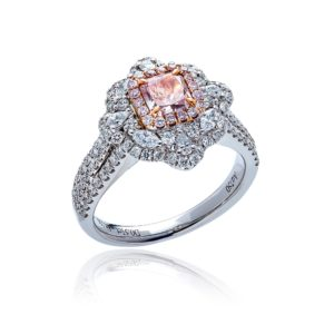 18ct White gold natural pink diamond cocktail ring