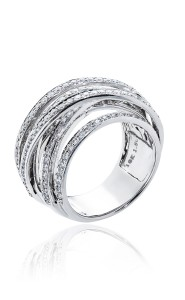 18ct White gold diamond multi band cross over ring.